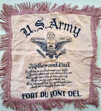 Fort Dupont Delaware City Vtg Ww2 Military Pillow Sham Cover Silk Us Army Pink