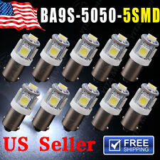 10pcs BA9S 5 SMD Xenon White LED Light Bulb Lamp T4W Q65B 1445 H6W 182 53 57