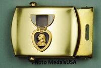 Purple Heart Medal Black Web Belt &  brass buckle BB754