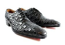 Ivan Troy Black Cube Handmade  Men Italian Leather Dress Shoes/Oxford Shoes