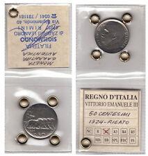 1924  REGNO D'ITALIA 50 CENTESIMI LEONI BORDO CONTORNO RIGATO SIGILLATA RARA