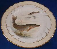 Antique Jugendstil KPM Berlin Porcelain Fish Scene Plate Porzellan Teller Scenic