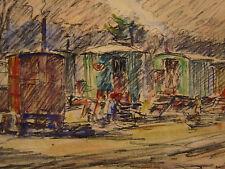 Fernand LAVAL (1886/95-1966) Postimpressionnisme 1933 Compiègne Roulottes Signac