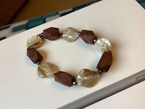 Vintage Wooden & Pearl Shell Bracelet.