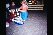 Org Photo Slide 1966 California Christmas Tree Lights Merry presents Cute girl b