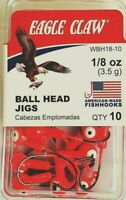 Eagle Claw 1/8 oz. (3.5g) Orange Ball Head Fishing Jigs 10 Pack ( #WBH18-10 )