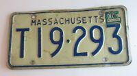 1972 License Plate Mass Blue & White Massachusetts  T19 293 # T19393 Vintage  MA