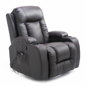 HOMCOM Massage Sofa Chair Recliner Rocking Armchair Lounge Heated Deluxe Leather