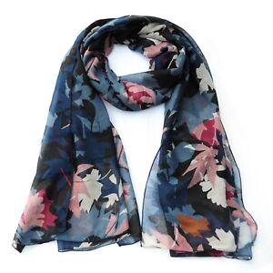 Maple Leaf Print Multi Colours Womens Fashion Scarf (Navy)