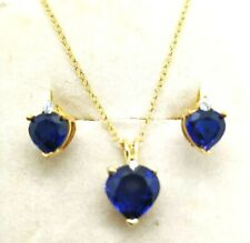 3.85 CT Heart Sapphire 14K Yellow Gold Over EarringPendant Jewelry Set Christmas