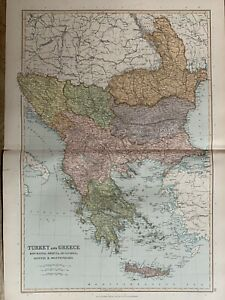1891 TURKEY IN EUROPE BALKANS LARGE COLOUR MAP BY W.G. BLACKIE 129 YEARS OLD