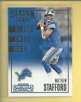 Matthew Stafford 2016 Panini Contenders Card # 30 Detroit Lions Football NFL
