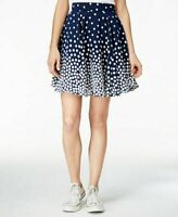 MAISON JULES $59 Womens NWT 6159 Navy Blue Polka Dot A-Line Skirt SMALL