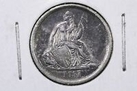 1837 Seated Liberty Dime, No Stars, Lively Lustrous XF++/AU