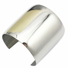 COUYA Silver Wide Cuff Bracelet Stainless Steel Smooth Polish Bangle for Women