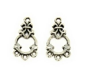 antiqued silver plated chandelier drops with 3 loops findings for earrings