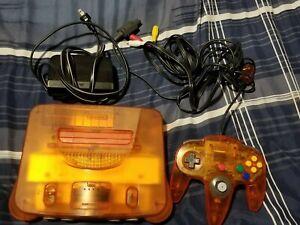 Nintendo 64 N64 Funtastic Fire Orange Console Clear w/ Controller NTSC NUS-001