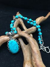 Necklace with semi precious stone Turquoise and Tibetan silver plated