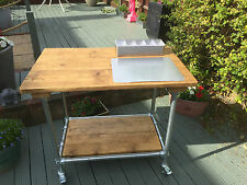 Kitchen/Outdoor Cooking Trolley, Reclaimed wood, Industrial, Perfect for Roccbox