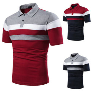 Mens Summer Slim Fit Polo Shirts Patchwork Short Sleeve Casual Work T-Shirt Tops