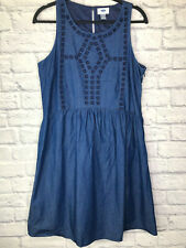 Old Navy Sleeveless Embroidery Detail Denim Dress Womens Size Medium Tall