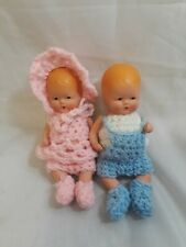 """Bisque Dolls Girl and Boy K & H USA 4"""" Tall"""