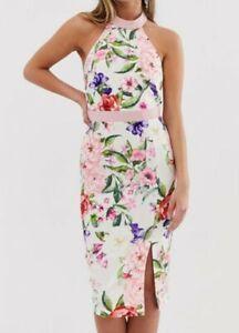 Paper Dolls Asos Ladies 10 Dress Floral Pencil Halter Neck Wedding Summer BNWT