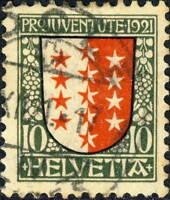 """SUISSE / SWITZERLAND / SCHWEIZ 1921 """"Pro Juventute"""" 10c+5c Mi.172 Very Fine Used"""