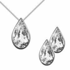 Conjunto Pendientes Y Collar Mujer Plata 925 con Colgante A Gota De Cristal