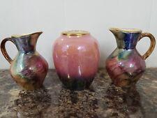 Pair of 1970s Oldcourt Ware Miniature Lustre Jugs + Similar Lustre Urn Vase