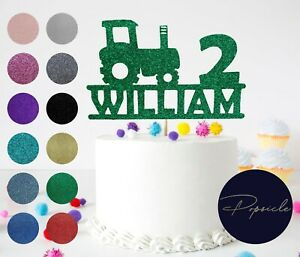 Personalised Birthday Tractor Glitter Cake Topper