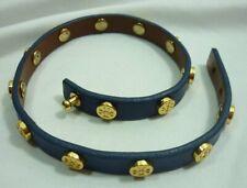 Tory Burch Leather Double Wrap Logo Stud Blue Bracelet Estate Jewelry 20C009