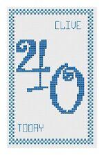 40th Anniversaire Bleu Kit de cartes de point de croix par florashell