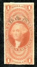 U.S. R68a used, $1 Foreign Ex,imperf, Fine