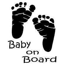 Baby on Board Safety Footprint Caution Warning Car Window Decal Vinyl Sticker