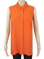 Ex Debenhams Ladies Orange Chiffon Sleeveless Casual Summer Top Size 12 - 18