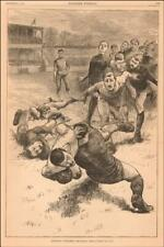 FOOTBALL TACKLED, fine antique engraving original 1883