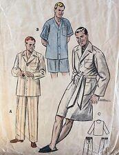 "VINTAGE 1940-50's ""Butterick 'Classic PJ' S & Sleep Cappotto Pattern 6317-Taglia Large"