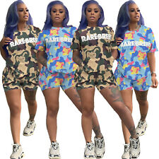 Sexy Women Multicolor Print Round Neck Short Sleeves Casual Sport Tracksuit 2pcs