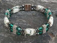 Women's Magnetic Bracelet Anklet Green Tree Agate w Emerald Green SWAROVSKI 2Row