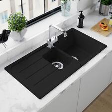Astini Elmo 150 1.5 Bowl Granite Nero Black Reversible Kitchen Sink & Waste