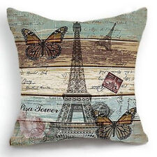 """Vintage Paris & Butterfly Pattern Square Cushion Cover Throw Pillow Case 18""""x18"""""""