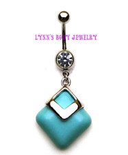 3D Turquoise Square Clear CZ Surgical Steel Dangle Belly Navel Ring