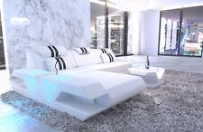 Ecksofa Leder Couch VENEDIG L Form Design Echtleder Sofa exklusiv Ottomane LED