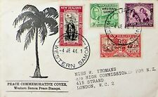 W. SAMOA OVPT ON NEW ZEALAND RED CROSS KG VI PEACE 4v ON COVER TO LONDON GB