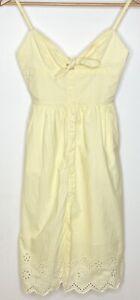 Kookai Sunflower White Yellow Stripe Dress, size 34 (AUS 6) tie front broderie
