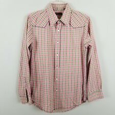 7 Diamonds western long sleeved 100% cotton button front pink women blouse sz S