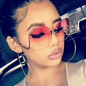 FASHION Super B Stunning Oversize Rimless Sunglasses (CLEAR&MIX. COLOR LENS)