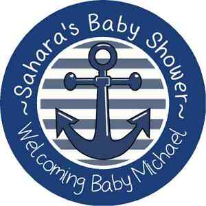 NAUTICAL ANCHOR BABY SHOWER PERSONALIZED STICKERS FAVORS ROUND LABELS BLUE