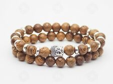 b80038b1fc6d Silver Buddha Sandalwood Bracelet Wooden Buddhist Reiki Healing Bead OM Aum  UK